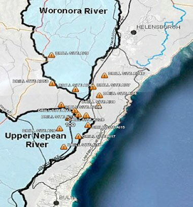CSG exploration wells in relation to the Woronora and Upper Nepean 'special areas'